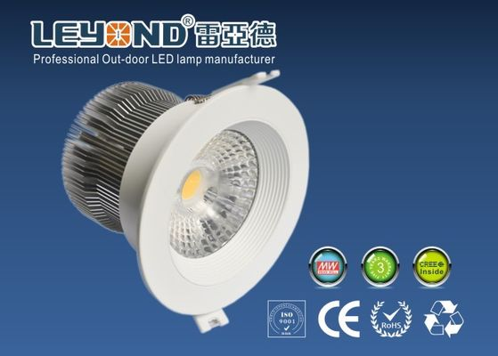 China Interior Lighting Round COB Led Downlights 15W White Housing For Bed Room Lighting 3000K distributor