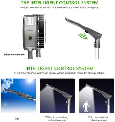 China Mono Crystalline Solar LED Street Light All In One Type 30w 40w 50w 150X70 Degree Beam Angle distributor
