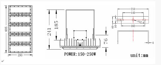 led floodlight bridgelux chip led modular   3x50 w led