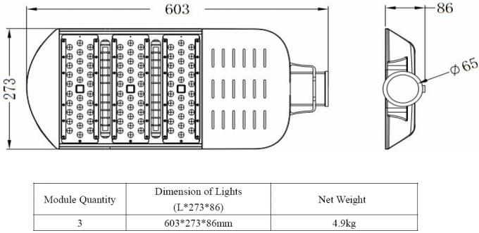 150LM / W 2700K power saving 60w LED Street Lighting high Lumen