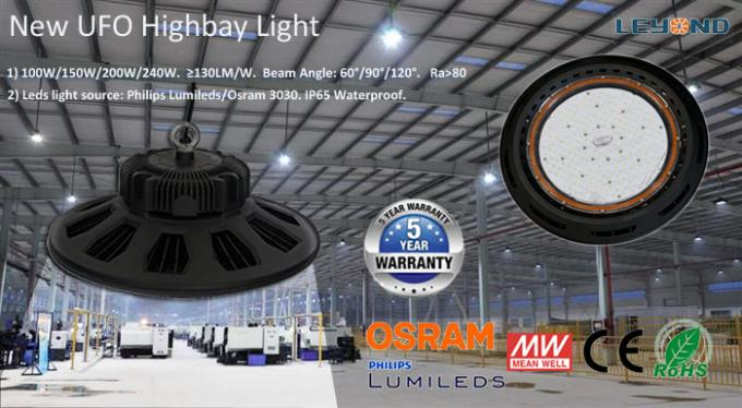 Warehouse Industrial Lighting 130LM/W IP65 Waterproof 150W UFO LED High Bay Light With Meanwell Driver