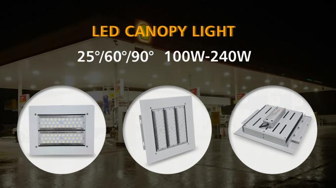 Laser Label Led Canopy Lighting 100-277vac 100w 150w 200w IP66 IK10 Surface Mounted Installation