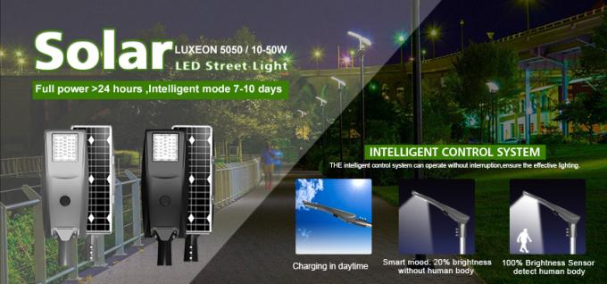 10-50w IP66 Solar Street Lamp All In One Intelegent Phosphate Lithium Battery